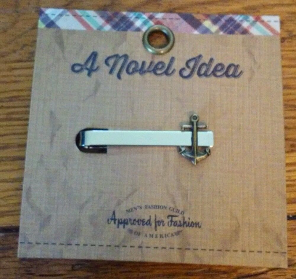 A Novel Idea Silver Bar with Antiqued Brass Tone Achor Tie Clasp