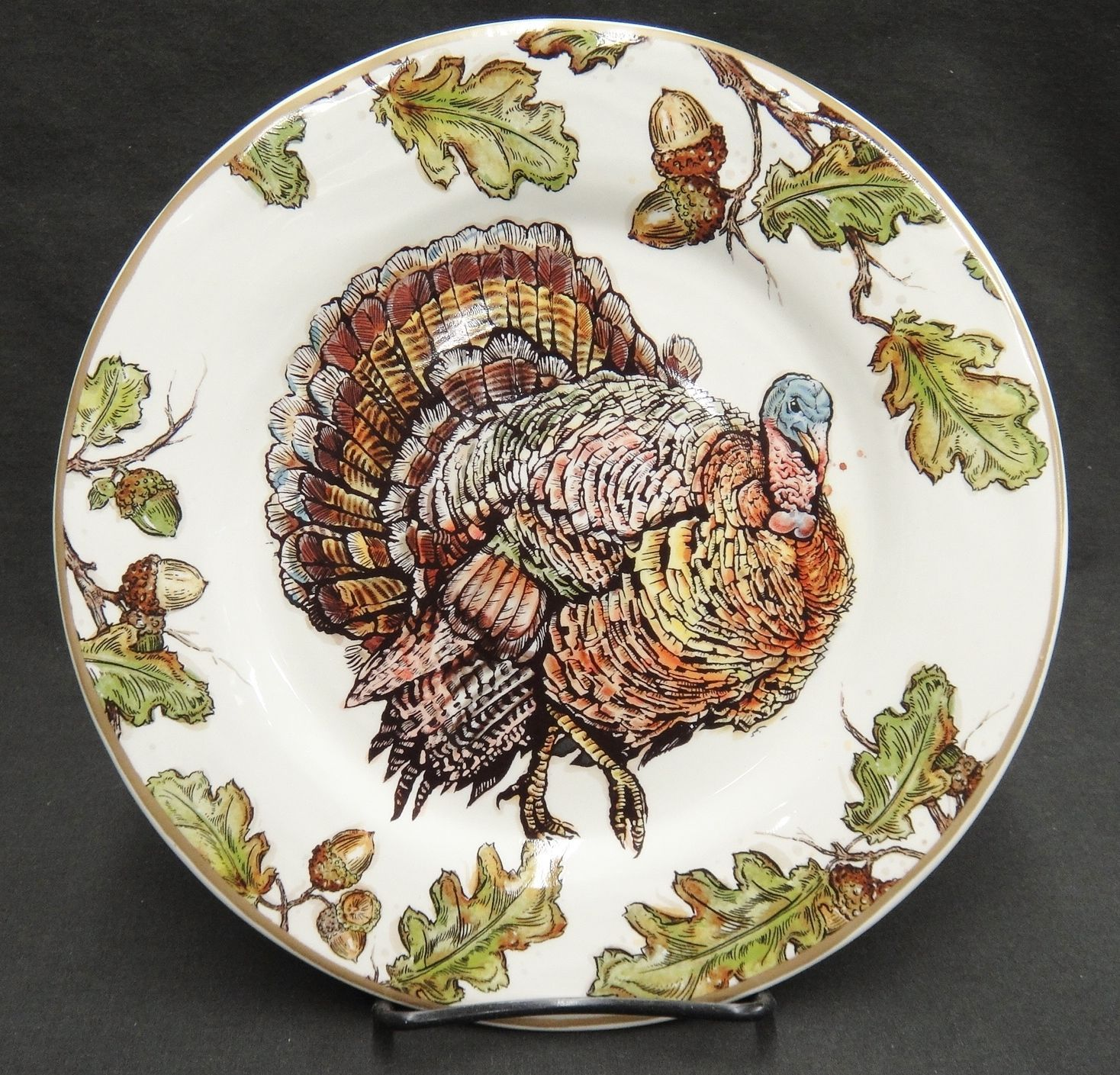 Pier 1 Imports Autumn Oak Turkey Salad Plate Acorns Leaves 8.75\  Very Good HTF : pier 1 imports dinnerware - pezcame.com