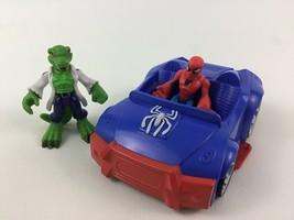 Super Hero Squad Marvel Spider Man Car vs The Lizard Villain 3pc Lot Has... - $19.56