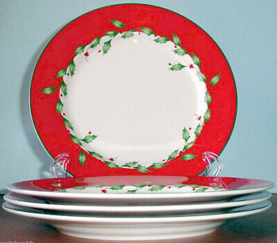 """Lenox HOLIDAY RED 8"""" Dessert Salad Plate Set of 4 Dimension New Boxed"""