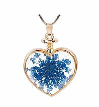 2 Pieces Of Fashion Blue Leaves Specimens Pendant For Heart-Shaped Necklace