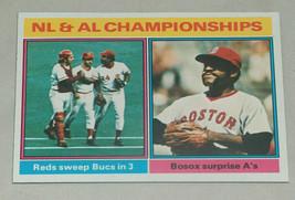 1976 Topps #461 NL AL Championships Reds Sweep Bucks Bosox Surprise A's ... - $7.90