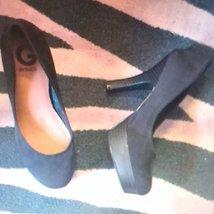Guess 7  Shoes black velour heels platforms women stilettos - $35.00