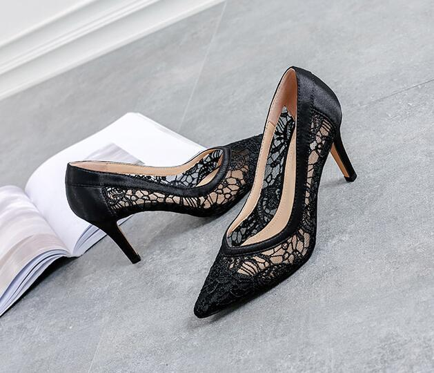 5cm Low Heels Leather See Through Lace Shoes, Black Leather Evening Heels Shoes