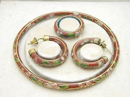 VTG Asian Oriental Red Floral Cloisonne Bangle Bracelet Earring Ring Set - $99.00