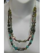 Vintage Multi-Color 2-Strand Art Glass Bead Necklace  - £19.55 GBP