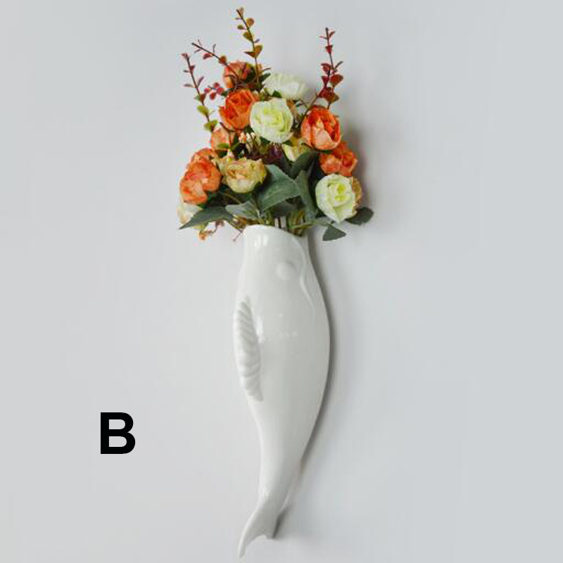 Interior Wall Hung Decorative Fish Shape Vase with Artificial Flowers Home Bar image 6