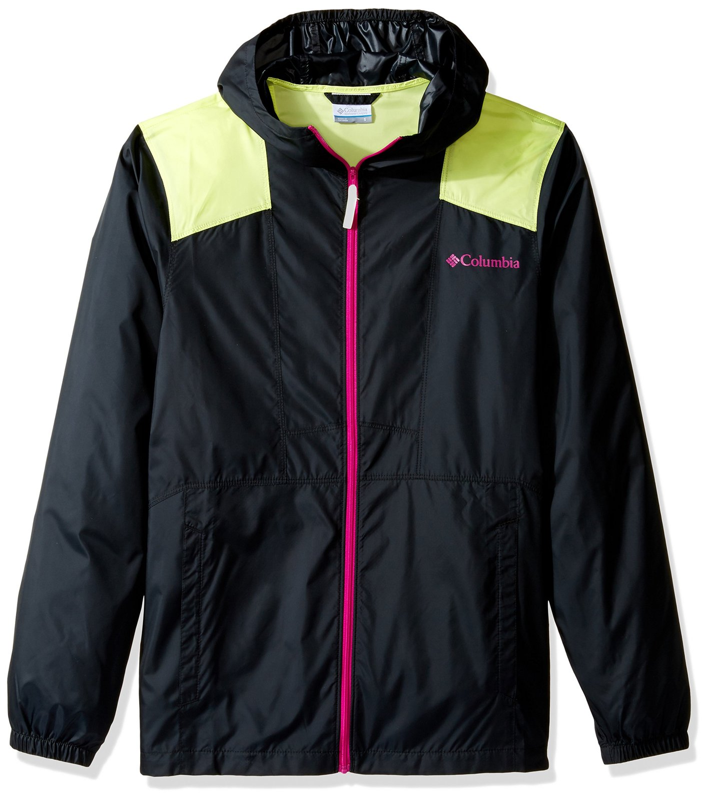 Columbia Men's Flashback Windbreaker, Black, Neon Light, Large