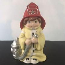 Wallace Berries Let's Pretend Ceramic Figurine Little Fireman #8573 - $14.80