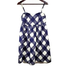 Motherhood Maternity Womens Dress M Blue Ivory Checked Removable Straps - $17.99