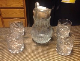 CUT CRYSTAL & SILVER PLATED PITCHER ITALY with 4 lead crystal glasses - $69.25