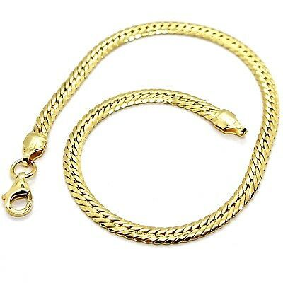 Bracelet Yellow Gold 18k 750, Braid Flat, Thickness 3 mm, Made in Italy
