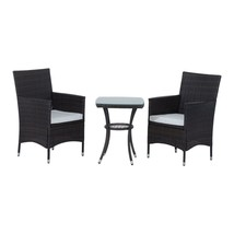 Rattan Furniture Garden Bistro Set 3 PCs Patio Weave Companion Chair Tab... - $165.27