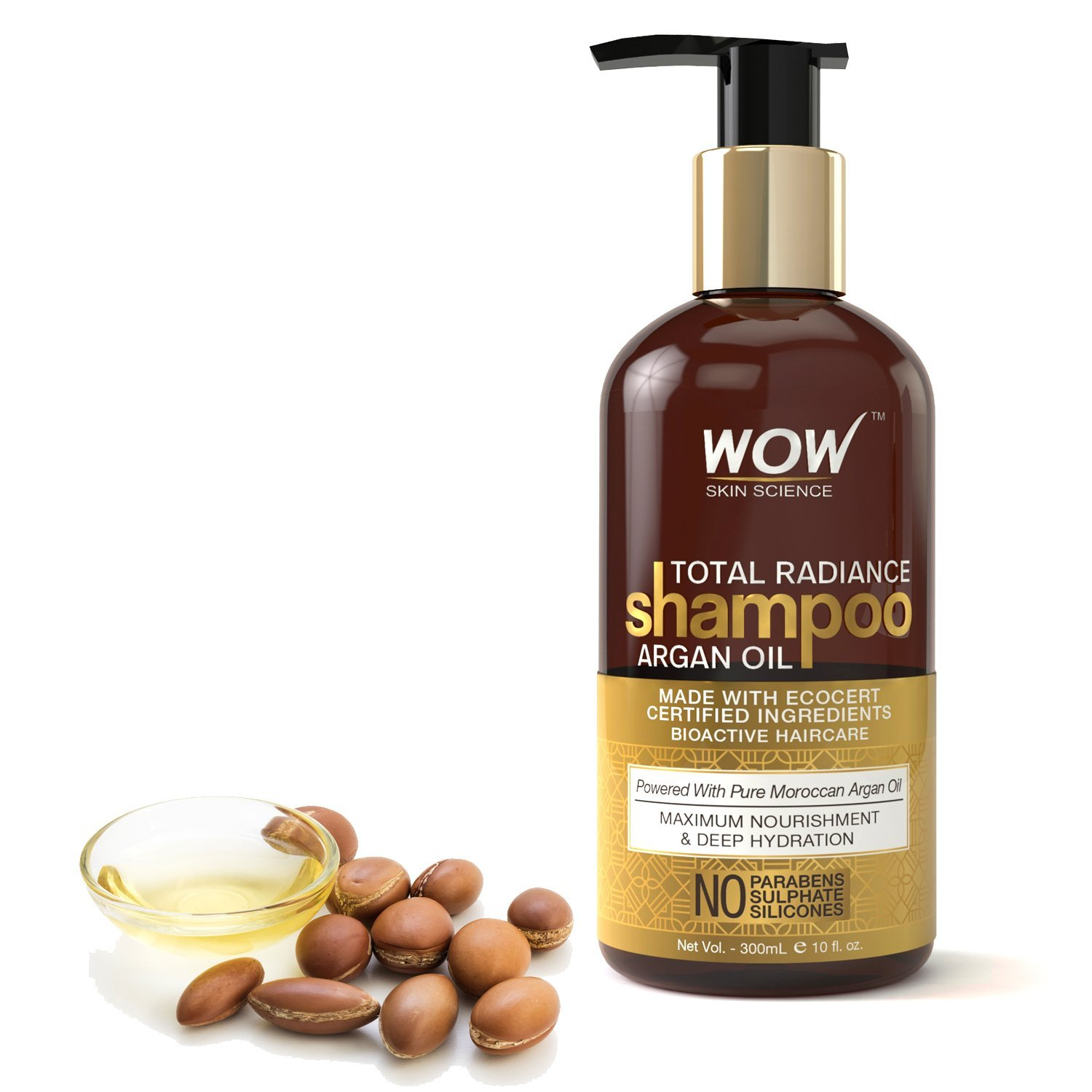 WOW Total Radiance No Parabens, Sulphate & Silicone Shampoo, 300mL