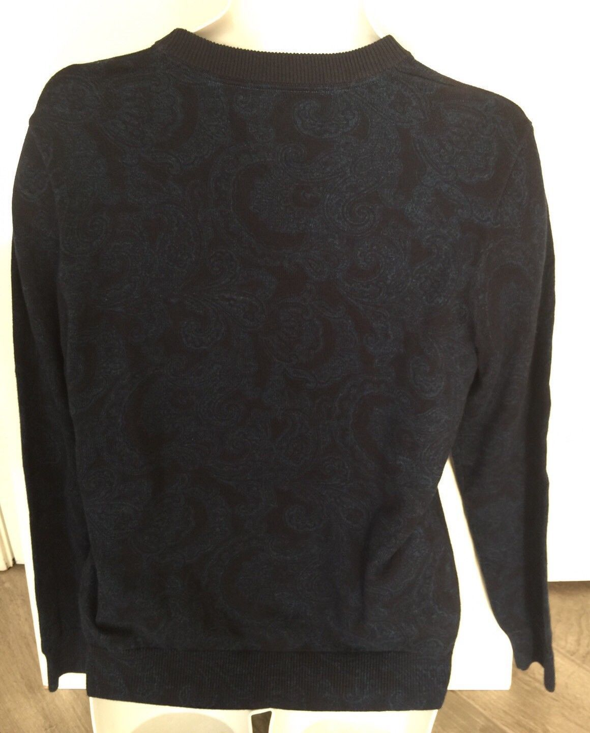 New $110 Men's Tommy Hilfiger Blue Paisley Cotton Sweater Sz M & 2XL