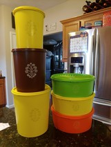 Tupperware 12pc Vintage Servalier Canisters #811 #809 #807 & 3 Multi Col... - $54.95