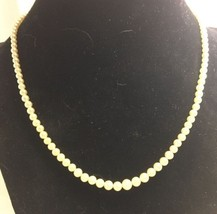 Vintage Crown Trifari Faux Pearl Graduated Necklace Sterling Rhinestone ... - $43.48