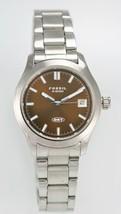 Fossil DRT Watch Men Stainless Silver Water Resistant 50m Batt Brown Date Quartz - £26.86 GBP
