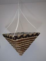 "14"" SQUARE Wicker Rattan Striped Brown Hanging Basket Flower Planter Con... - $23.75"