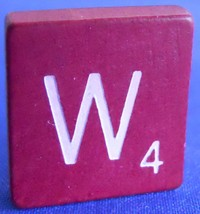 Scrabble Tiles Replacement Letter W Maroon Burgundy Wooden Craft Game Pa... - $1.44
