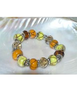 Estate Orange & Yellow Slider Bead with Silvertone Accents Stretch Brace... - $7.69