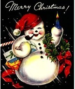 Jolly Snowman Vintage Christmas Image Digital Art - $8.56 CAD