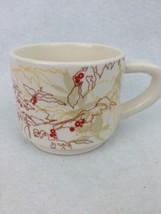2009 Starbucks Holiday Original Mug Abstract Brown Yellow Tan leaves red berries - $9.46