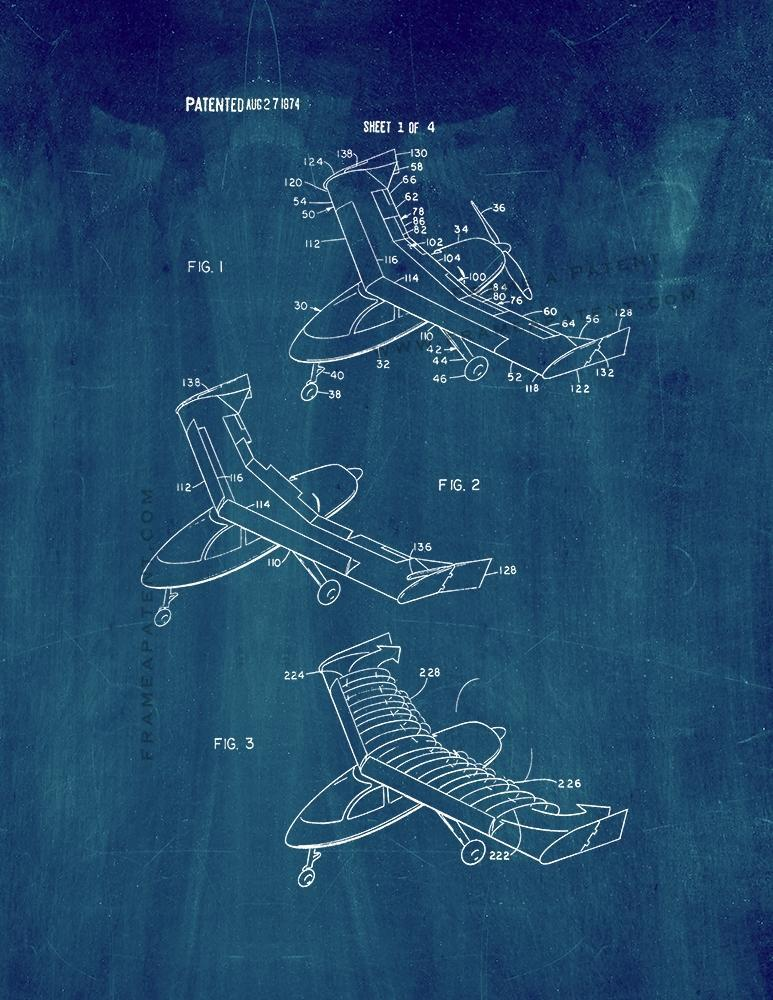 Primary image for Aircraft Wing With Vortex Generation Patent Print - Midnight Blue