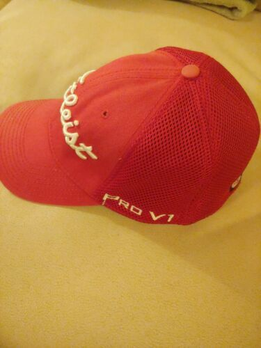 FootJoy Titleist ProV1 Men's Golf Hat Cap Small Medium Red Mesh Back Fitted image 4