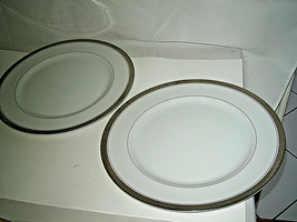 "2-pc Mikasa Alton 5299 Dinner Plate Platinum Greek Key 10 1/2"" Japan MOR... - $39.99"