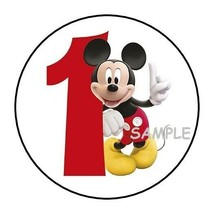 """30 Mickey Mouse First Birthday Party Stickers 1st round labels favors 1.5"""" - $4.99"""