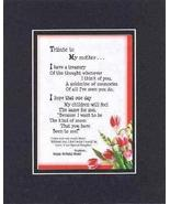 Personalized Touching and Heartfelt Poem for Mothers - Tribute to My Mot... - $19.95