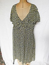 *40S STYLE RETRO TU 18 VOILE GREEN DITZY PRINT CAP SLEEVE V NECK 1/2 BE... - $11.82