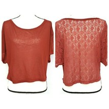 Eyeshadow Juniors Crop Top S Maroon Red Crochet Lace Back Semi Sheer Shirt - $9.99
