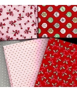 5 Fat Quarters, Moda Sugar Plum Christmas, Dots, Holly, Ornaments, Quilt... - $14.37