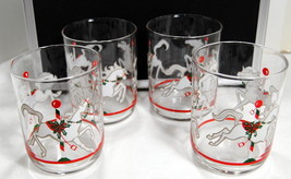 Set of 4 Vintage Low Ball Carousel Horse Retro Glasses Holiday Christmas... - $19.95