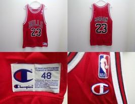 ORIGINAL Vintage 1990s Michael Jordan Champion Red Chicago Bulls 23 Jers... - $186.81