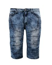 LR Scoop Men's Distressed Denim Fade Wash Slim Fit Moto Skinny Jean Shorts image 5