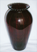 """Anchor Hocking Royal Ruby red Hoover vase 9"""" scalloped edge tall vintage - $9.95"""