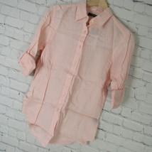 Ralph Lauren Small Shirt Womens Pink Linen Button Down Top MSRP $110 - $55.87