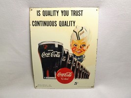 "Coca-Cola Sprite Boy ""Is Quality You Trust Continuous Quality"" 1995 Tin Sign - $15.00"