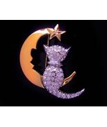 Rhinestone cat brooch -  Moon Stars  Pin - Vintage magical jewelry - gol... - $75.00