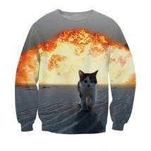 Cute Kitten Cat Walking Away From Fire Explosion Stunning Sweatshirt - $38.99