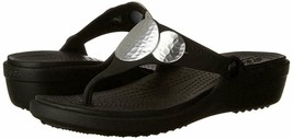 CROCS Women's Sanrah Embellished Wedge Flip Sandals Black Silver Metallic - $29.99