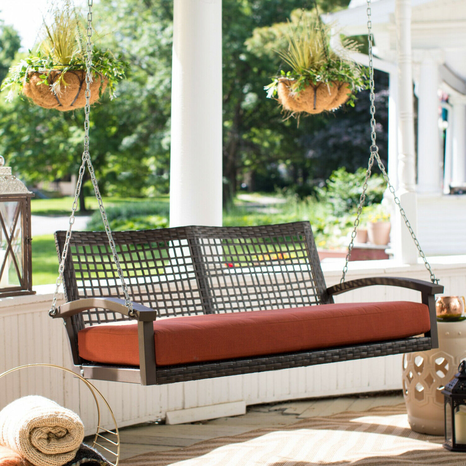 Porch Swing Patio Wicker Hanging Seat Chair Loveseat Outdoor Cushion Home Resin image 8