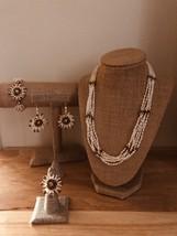 6 Strand White Rice Freshwater Pearl & Green/Pink Jade Jewelr Set,Fashio... - $130.00