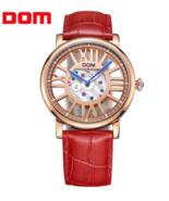 DOM® Luxury Brand Watches Waterproof Style Leather Gold Skeleton Quartz ... - $99.77