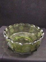 Fostoria Elegant Coin Bowl Olive Green Glass Vintage - 1960's - $19.64