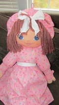 "Sweetie Mine large 48"" brown-ish yarn hair plush rag doll pink w/ colore... - $29.69"