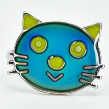 Kid's Fashion Silver Tone Cat Kitten Color Changing Fashion Adjustable Mood Ring image 2